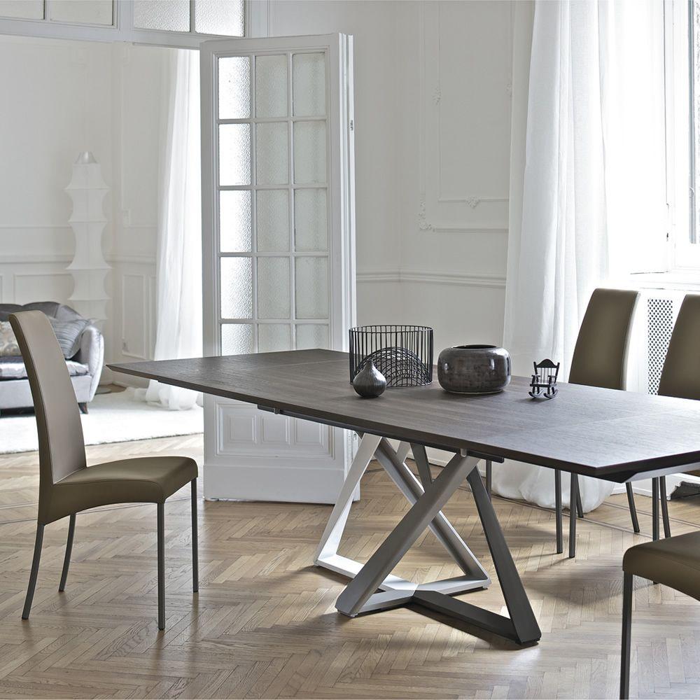 Millennium ext design table bontempi casa in metal with for Table ceramique