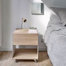 Billy Box II - Universo Positivo chest of drawers - nightstand made of wood and metal, different colours available, with wheels