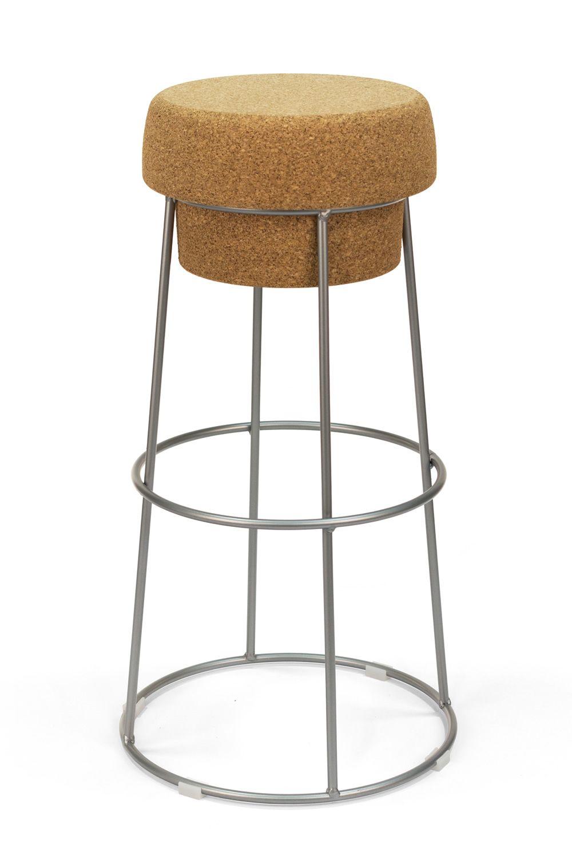bouchon pour bars et restaurants tabouret en m tal et assise en li ge hauteur 66 ou 76 cm. Black Bedroom Furniture Sets. Home Design Ideas