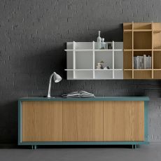 Frame - Dall'Agnese sideboard made of metal and veneered wood, different colours available, three doors