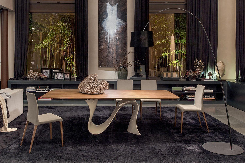 Wave l 8014 tavolo fisso tonin casa in tecnopolimero con piano in legno diverse finiture e - Tavolo con sedie diverse ...