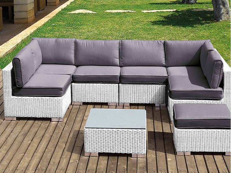 Lambro set kit de rat n sint tico para jard n sof for Sofa modular jardin