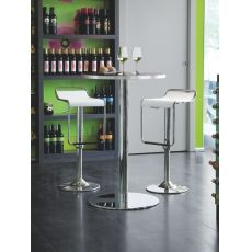 715 | H | Tavolo alto con piano tondo in laminato, diametro 70 cm