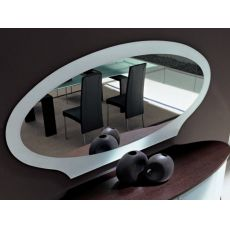 Akalla 7503 - Tonin Casa elliptical mirror with glass frame, different colours available