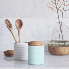Bussulot - Contenitore multiuso in ceramica con tappo in sughero, disponibile in diversi colori
