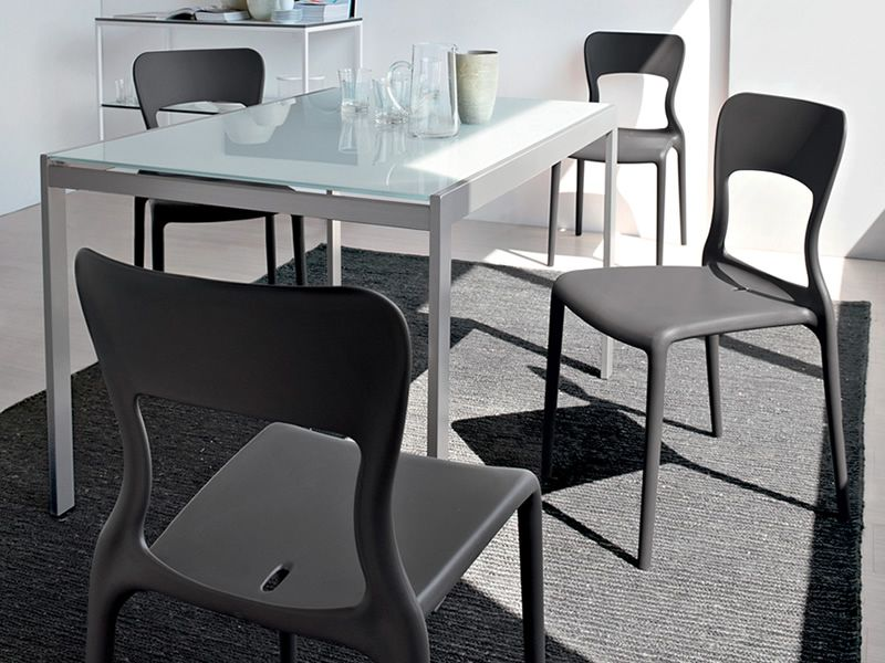 742 2v tavolo in metallo con piano in vetro 70x110cm for Tavolo calligaris 70x110