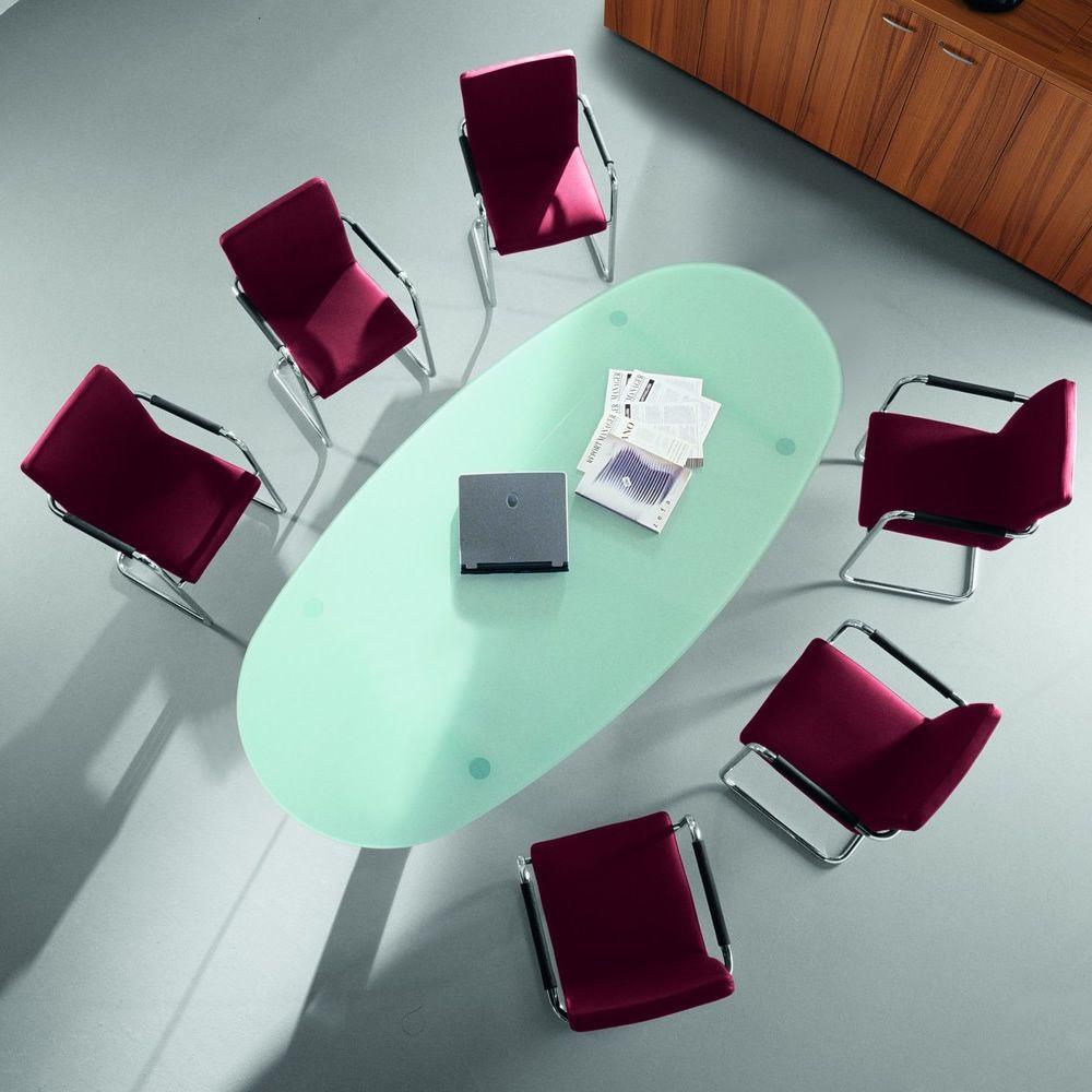 Glass meet tavolo da riunione ovale con piano in vetro - Piano tavolo vetro ...