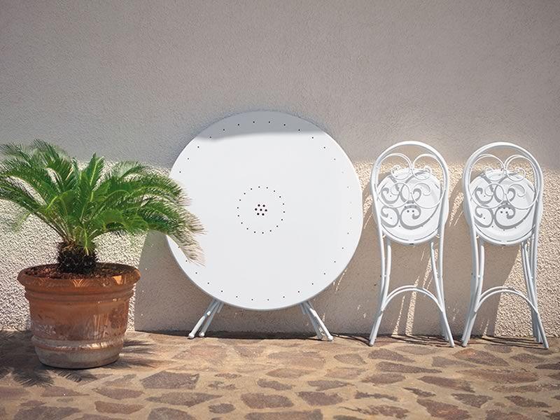 Pigalle 924 - Sedie pieghevoli verniciate bianche con il tavolo ...