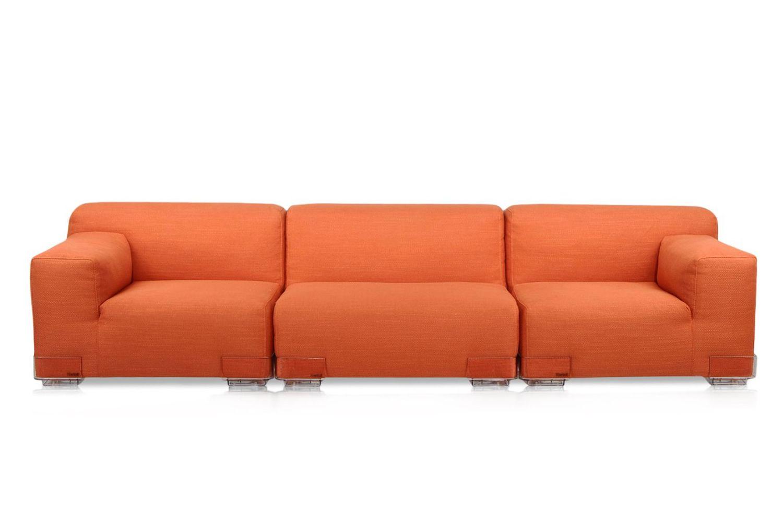 plastics duo 3p designer 3 sitzer sofa von kartell mit f en aus polycarbonat und stoffbezug. Black Bedroom Furniture Sets. Home Design Ideas