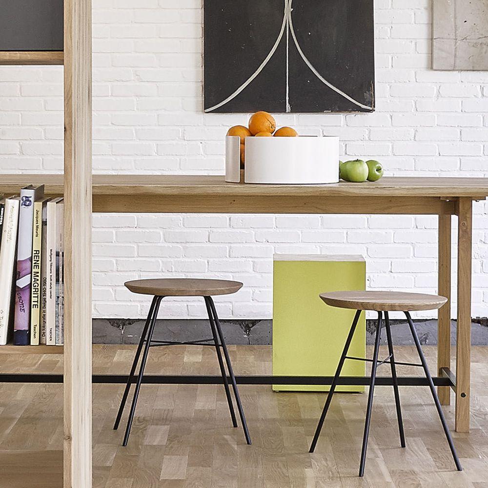 Disc taburete ethnicraft de metal con asiento de madera altura asiento 46 cms - Asientos para taburetes ...