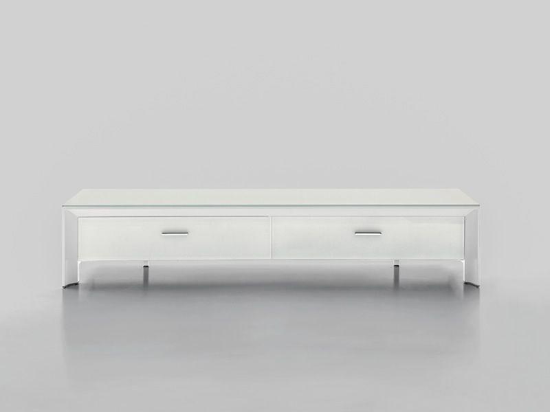 Miami 6205 meuble porte tv tonin casa en aluminium et for Meuble avec porte en verre