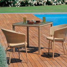 Delta T - Tavolo Emu in metallo e rattan, disponibile in diverse misure, per giardino
