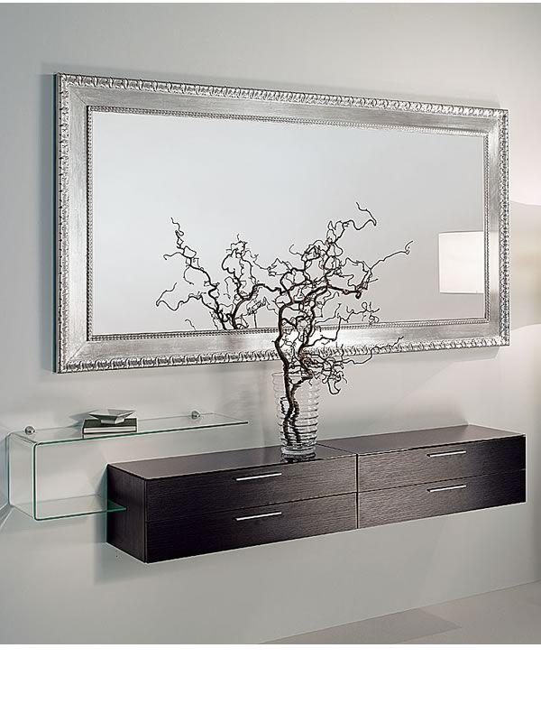 Flexi a espejo de madera con decoraci n en hoja de plata for Espejo marco cristal