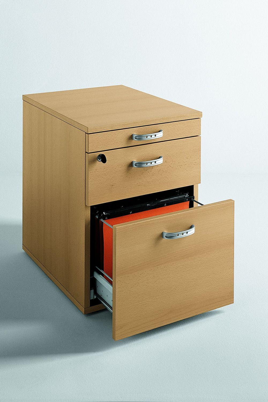 cassettiera wood 2 kleiner schubschrank f r das b ro aus laminat mit gummirollen mit zwei. Black Bedroom Furniture Sets. Home Design Ideas
