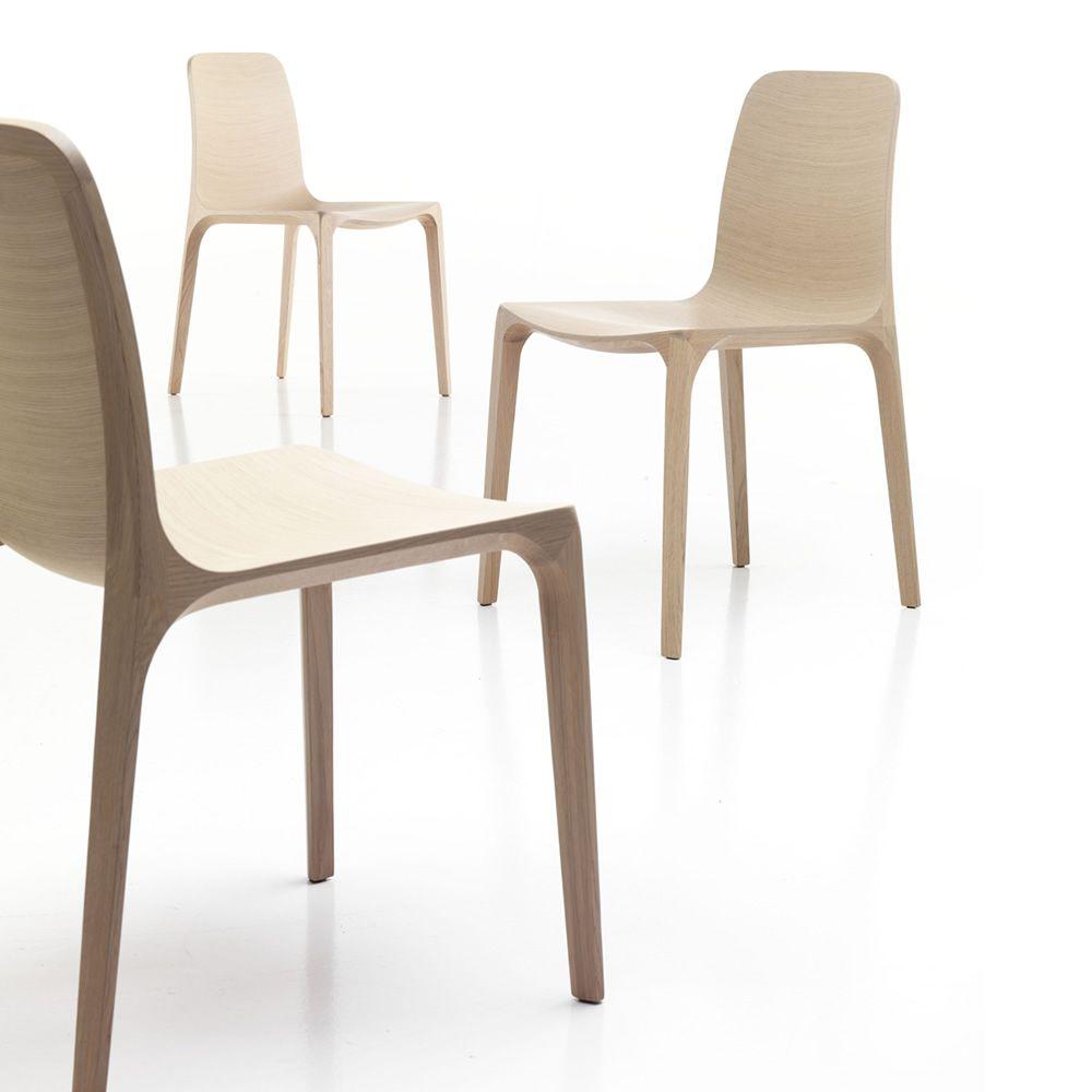 Schön Frida 752 Designer Stuhl Aus Holz In Der Ausführung Gebleicht Eiche