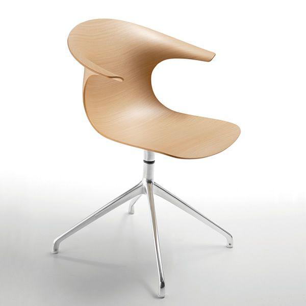 loop wr drehbarer stuhl infiniti aus aluminium sitz aus holz in verschiedenen farben. Black Bedroom Furniture Sets. Home Design Ideas