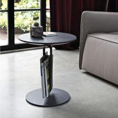 Alfred - Tavolino di desing Bontempi Casa, con struttura in acciaio laccato e piano in legno, diversi colori e finiture disponibili