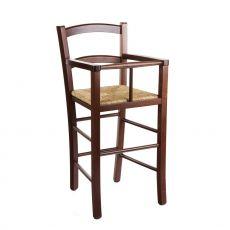 MU50 - Seggiolone rustico per bambini, in legno, diverse tinte disponibili, con sedile in paglia, legno o diversi tipi di tessuto