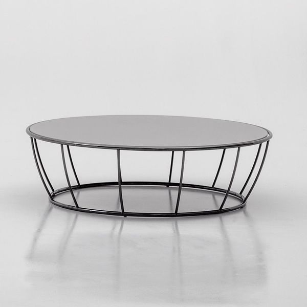 Amburgo 6287 Round Coffee Table Made Of Chromed Metal With Glass Top