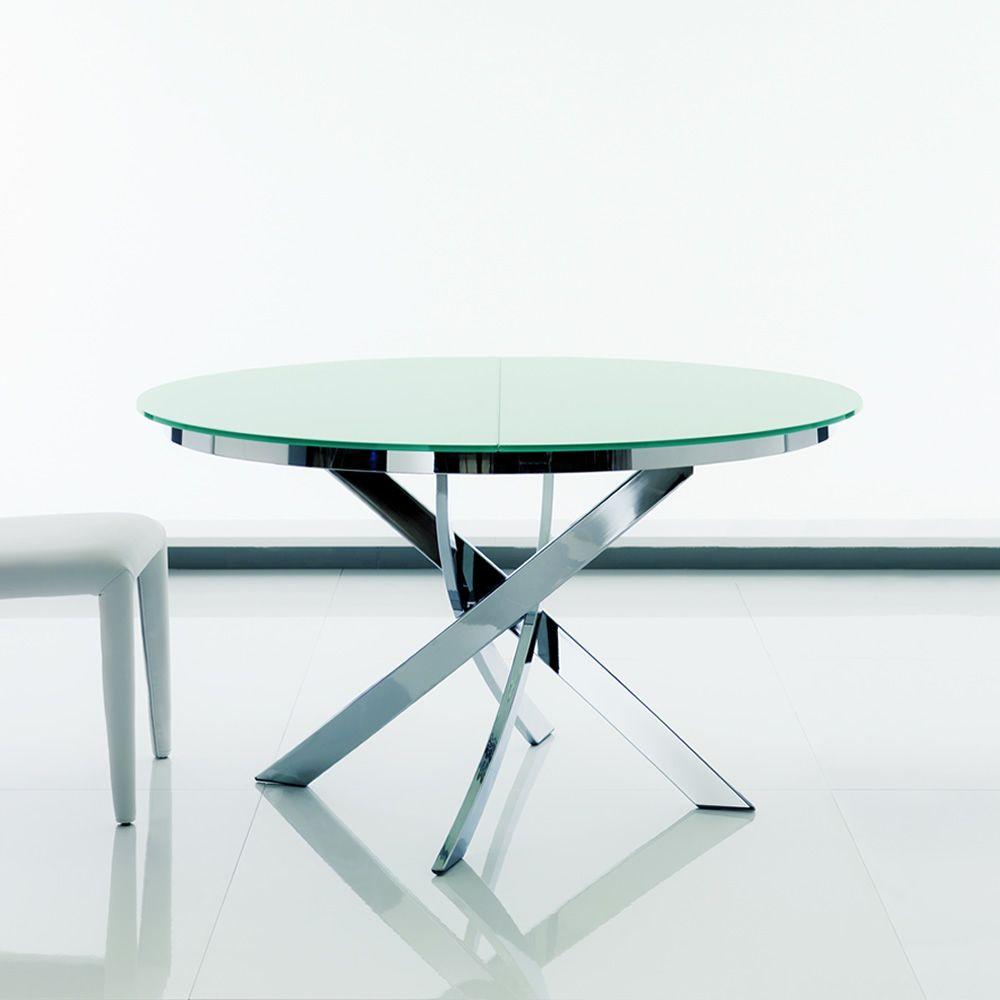 93 Tavolo Rotondo Allungabile.Barone Ext Design Round Table Bontempi Casa In Metal With Glass Top Diameter 125 Cm Extendible Sediarreda Com