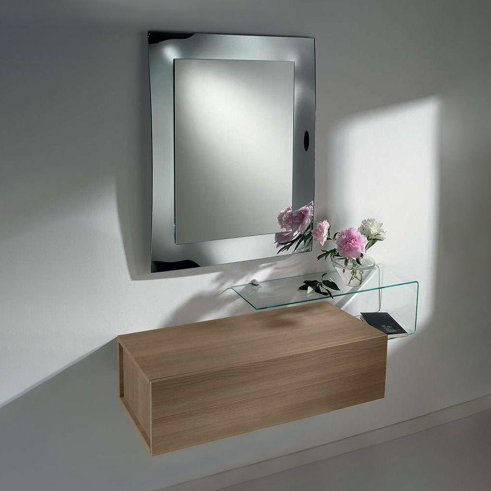 due f meuble entr e avec 2 titoirs miroir et tag re en verre sediarreda. Black Bedroom Furniture Sets. Home Design Ideas