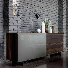 Slide-V - Dall'Agnese sideboard made of veneered wood and glass, metal feet, different colours available, one door and four drawers