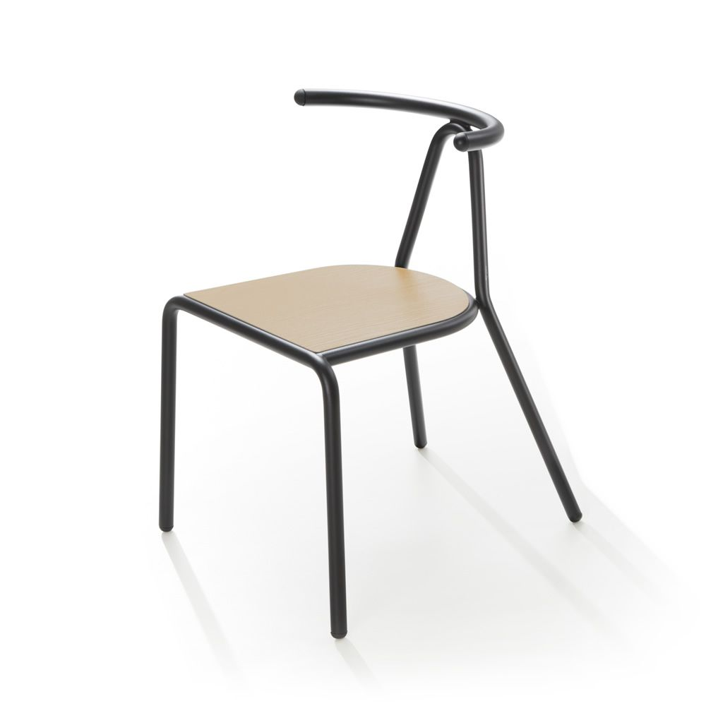 ... Toro   Chair In Black Varnished Steel With Natural Ash Wood Seat ...
