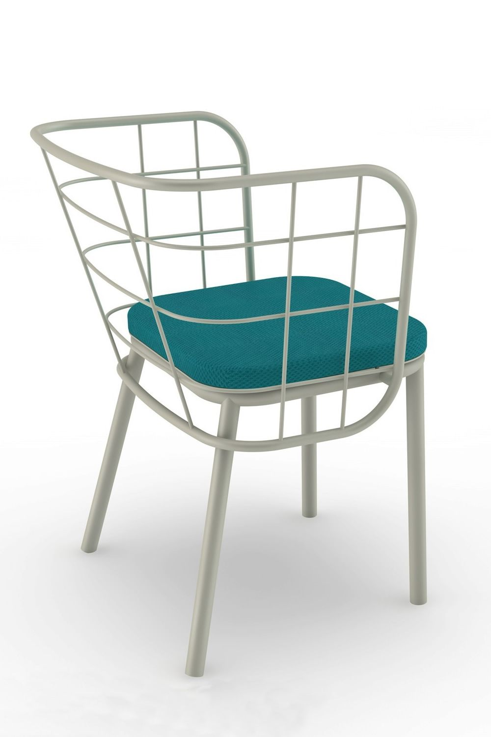 ... Jujube   Metal Armchair With Cushion, In Light Grey Colour ...
