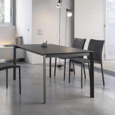 Dublino - Table design de Bontempi Casa, 160 x 90 cm extensible, en métal, équipée de plateau en différents matériaux, disponible dans un large choix de couleurs