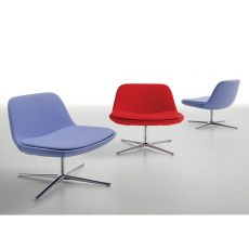 Pure Loop Lounge - Infiniti swivel metal armchair, with fabric, leather or imitation leather upholstered seat, different colours