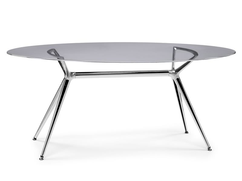 Metropolis 2400 table moderne en m tal avec plan ovale en for Table ovale moderne