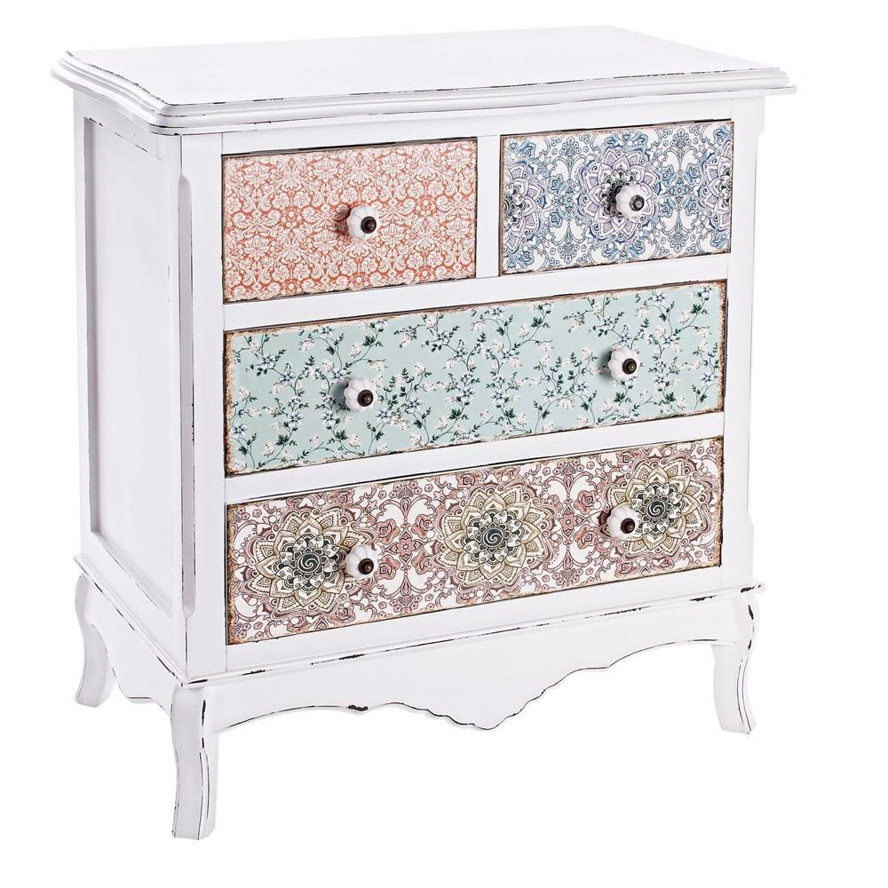 Falesia 2C-2C: Shabby chic chest of drawers in wood, with four ...