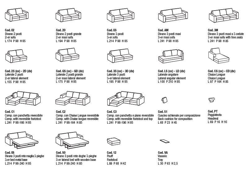Icaro divano moderno a 2 posti 3 posti o 3 posti maxi for Dimensioni divano