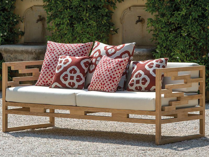 kontiki d sof de madera de teca con cojines en tela decorada