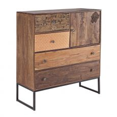 Abuja 1A-4C - Vintage cabinet for living room, made of wood with iron legs, with doors and drawers