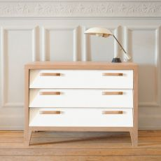 60's - Ethnicraft low chest of drawers made of wood, with 3 drawers in MDF, different colours available