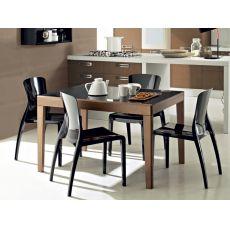 Asso-120 - Table Domitalia en bois avec plateau en verre, 120 x 90 cm à rallonge