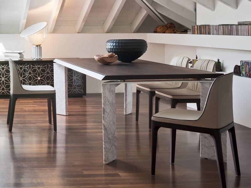 Roma f 8068 feststehender tisch tonin casa aus holz oder for Carrara marmor tisch