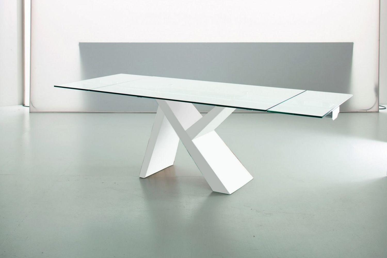 aKille - Tavolo di design in legno, fisso o allungabile, con piano in vetro o laminato ...
