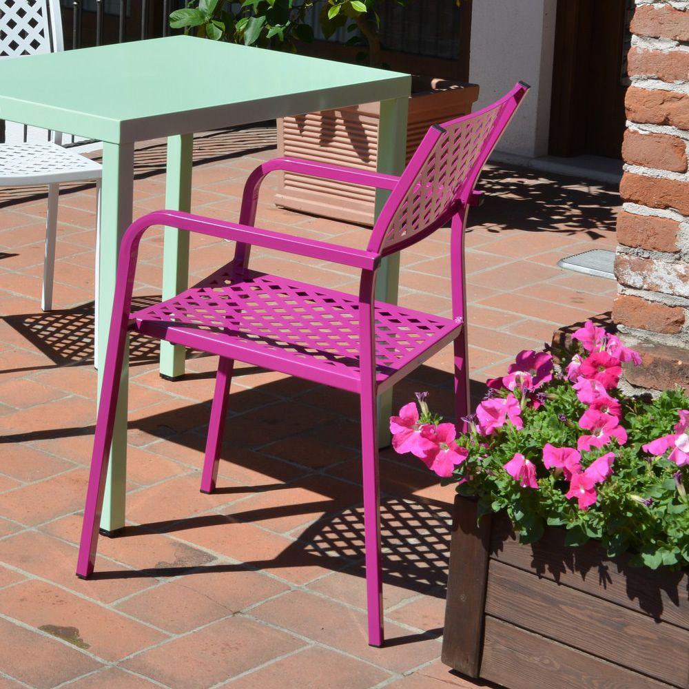 Rig17p silla con reposabrazos de metal apilable en for Sillas con reposabrazos