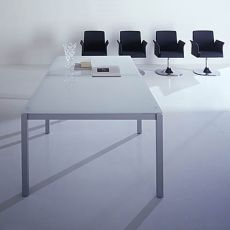 Office X4 Meet Glass - Meeting table, with metal frame and glass top, available in different dimensions and colours