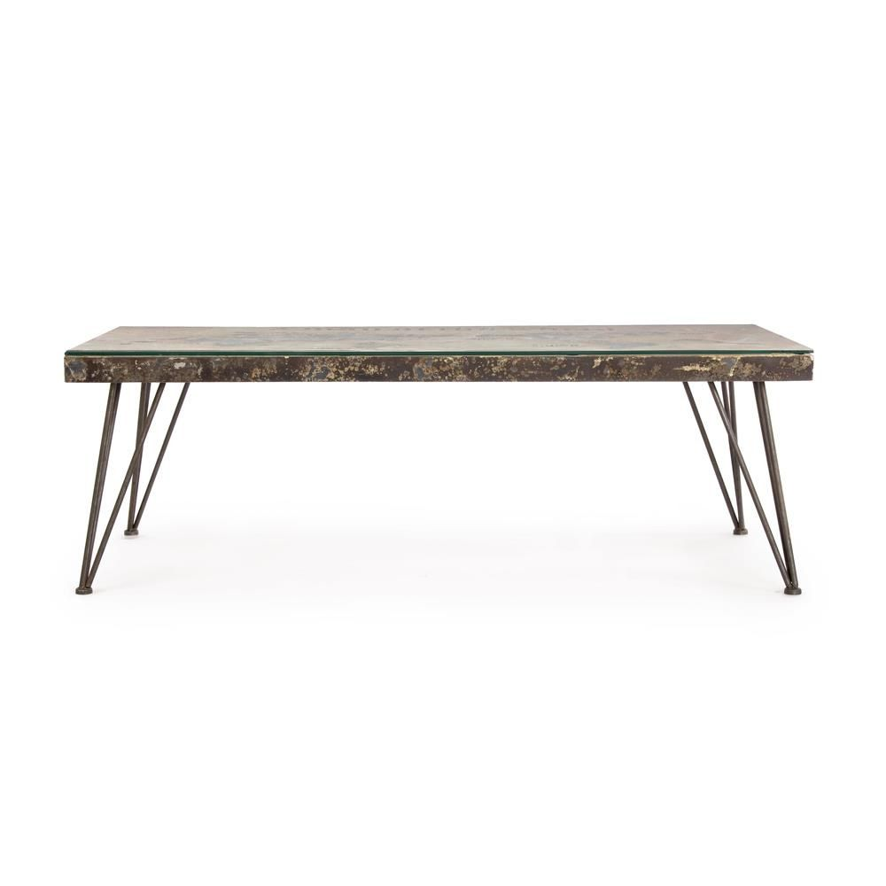 Lagos t small urban style coffee table metal with top in for Small glass top coffee table