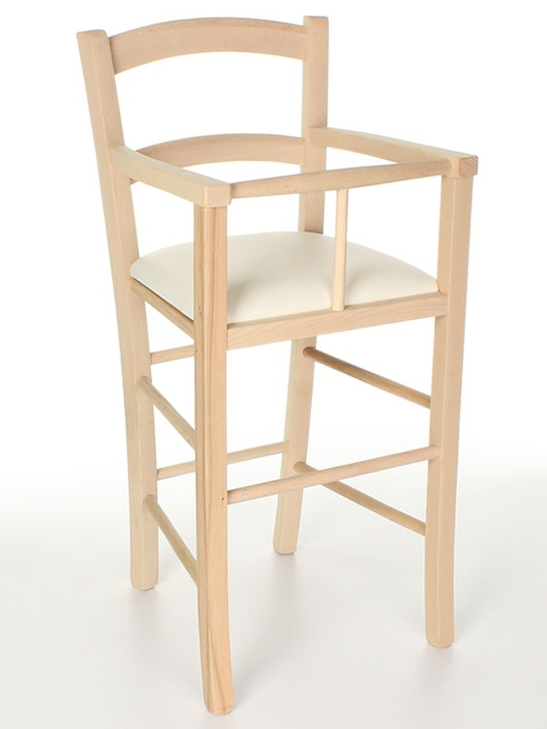 MU50 - Sgabello in legno grezzo, seduta imbottita rivestita in ...