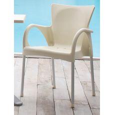 Beverly - Sedia impilabile con braccioli, in alluminio e tecnopolimero, anche per esterno, diversi colori disponibili
