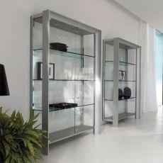 Miami 6210 - Libreria moderna Tonin Casa in metallo e alluminio, ripiani in vetro