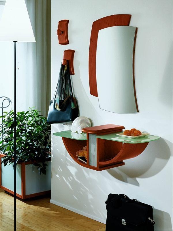PA164 Meuble entrée avec miroir et crochets, différentes couleurs  Sediarreda -> Meuble Mural En Verre