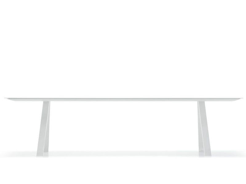 Arki-Table - Tavolo di design Pedrali fisso, in metallo, con piano in stratif...