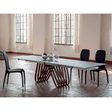 Arpa 8002 - Tonin Casa extendable table made of wood with glass top, different finishes and sizes available