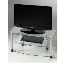Millenium - TV-stand in varnished steel with glass tops