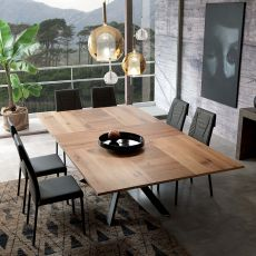 4x4 - Modern table in metal, 200x100 cm wooden top, extendable, available in several finishes